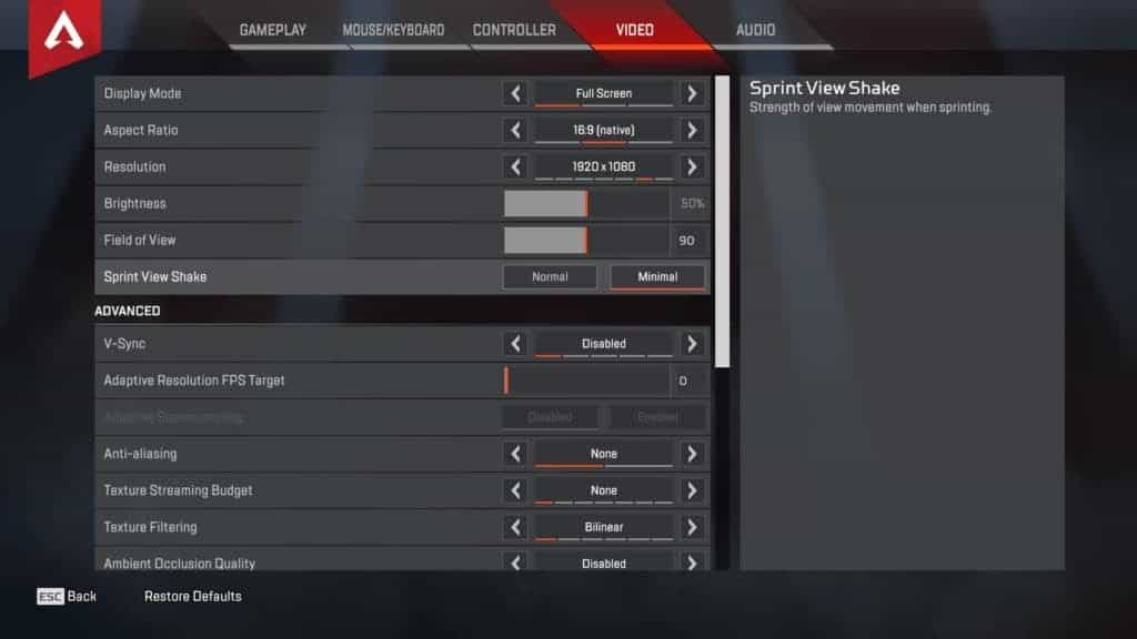 Shroud Apex Video settings - page 1