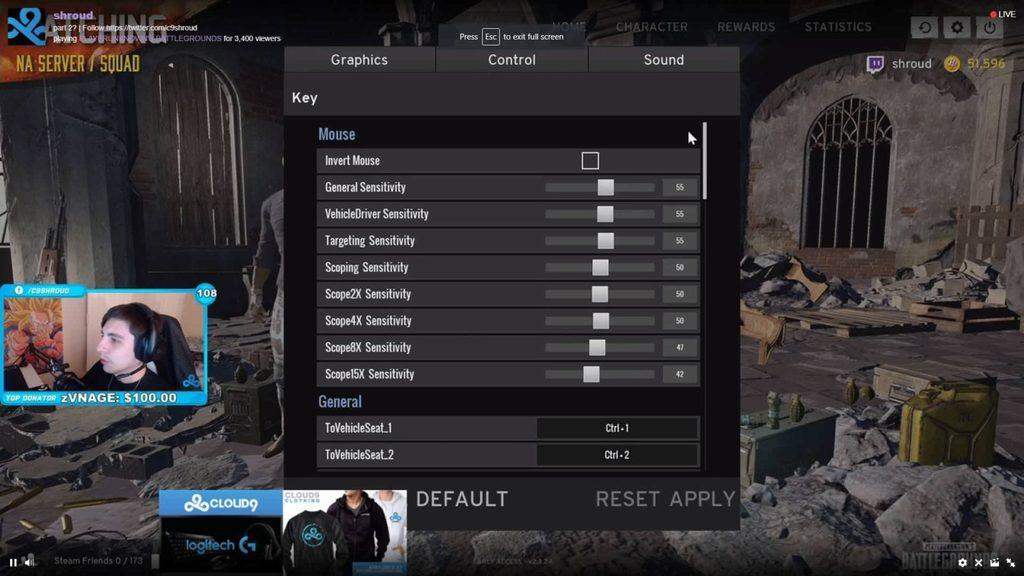 Shroud PUBG mouse control sensitivity settings
